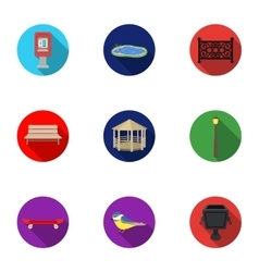 Park set icons in flat style Big collection of vector