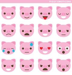 Piggy emoticons vector image