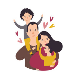 Portrait of happy loving family smiling dad mom vector