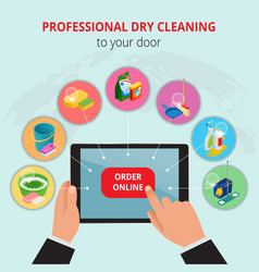 professional dry cleaning to your door conept vector image