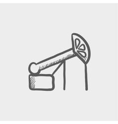 Pump jack oil crane sketch icon vector image
