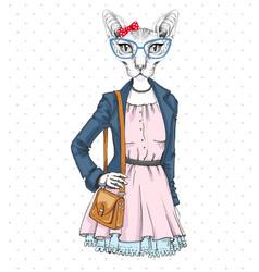 Retro hipster fashion animal sphynx cat vector