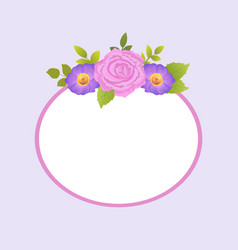 Rose and purple daisy flowers photo frame greeting vector