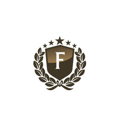 Royal vip shield leaf initial f vector