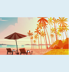 sea shore beach with deck chairs on sunset vector image