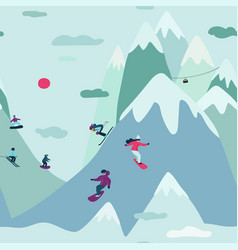 Seamless pattern with skiing and snowboarding vector