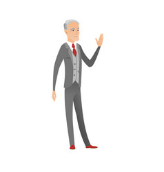 Senior caucasian businessman waving hand vector