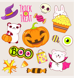 set cute halloween icons in kawaii style vector image