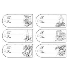 set of hand drawing christmas tags vector image