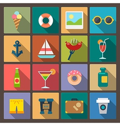 Set of recreation icons in flat design style vector