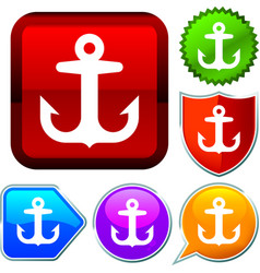 Set shiny icon series on buttons anchor vector
