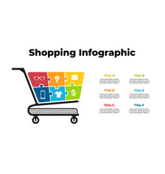 Shopping puzzle cart infographic presentation 6 vector