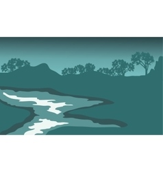 Silhouette of river with green backgrounds vector image