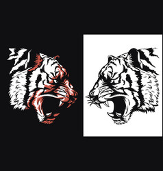 silhouette tiger head roaring sideview isolated vector image