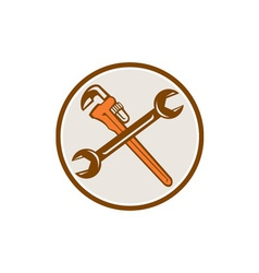 Spanner Monkey Wrench Crossed Circle Retro vector