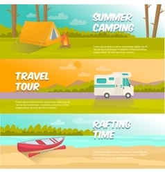 Summer Camping Horizontal Banners Set vector