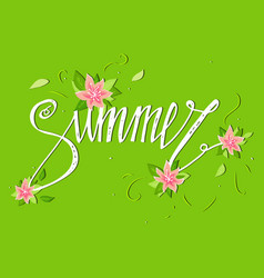 summer card on green background with flowers vector image