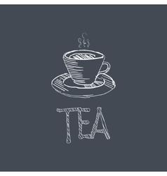 Tea Sketch Style Chalk On Blackboard Menu Item vector image