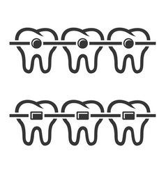 teeth braces icons set on white background vector image