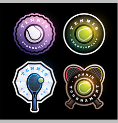 tennis circular logo set modern professional vector image