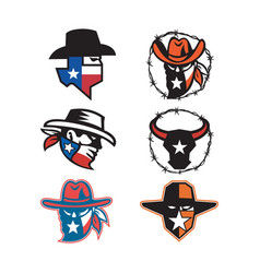 texas outlaw mascot collection vector image
