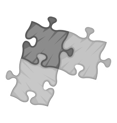 Three puzzle icon gray monochrome style vector image