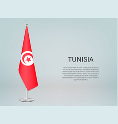 Tunisia hanging flag on stand template vector