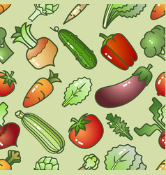 various colorful cartoon style vegetables vector image