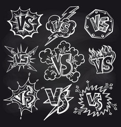 Versus signs set on chalkboard vector