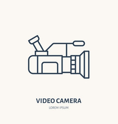 video camera flat line icon movie production vector image