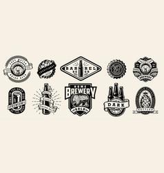 Vintage brewing monochrome emblems vector