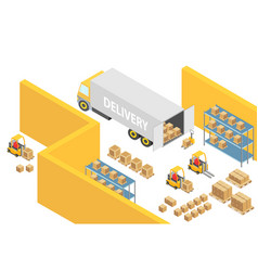 warehouse isometric 3d interior map vector image