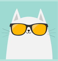 White cat wearing orange sunglasses eyeglasses vector