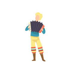 Young man in bright costume playing accordion at vector