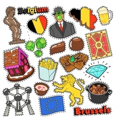 Belgium Travel Scrapbook Stickers Patches Badges vector image vector image