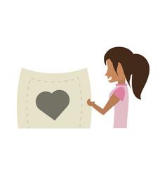cartoon woman holding paper heart romance vector image