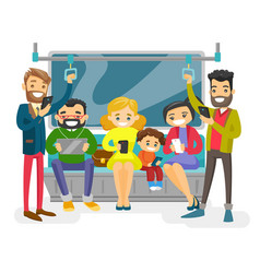 caucasian people traveling by public transport vector image