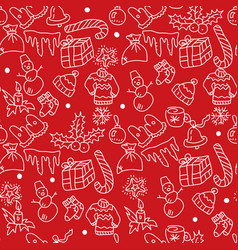 christmas red background hand drawn white vector image