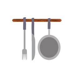 colorful ladles and pan over white background vector image vector image