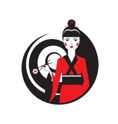 Geisha holding sushi with chopstiks isolated on vector image