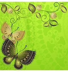 Green spring floral frame vector image vector image