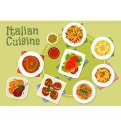 Italian cuisine traditional meat dishes icon vector image vector image