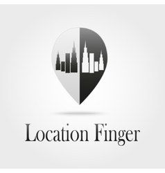 location sign with a silhouette of the city vector image vector image