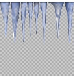 Set of Isolated ice icicle on a transparent vector image vector image