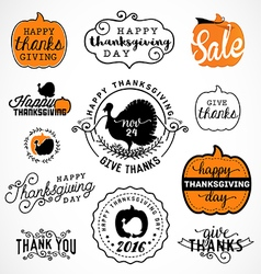 Set of thanksgiving calligraphic vector