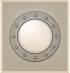 Submarine window or porthole in engraving style vector image