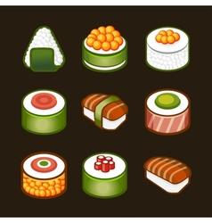 sushi set - japan cousine vector image vector image
