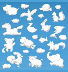 animals cloud cartoon kids style silhouette white vector image vector image