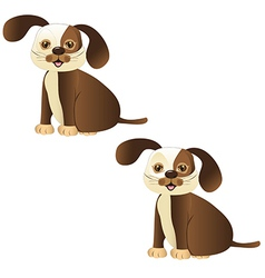 brown dog sitting with and whitout lines vector image vector image