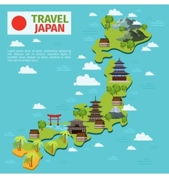 Japan travel map with traditional japanese vector image